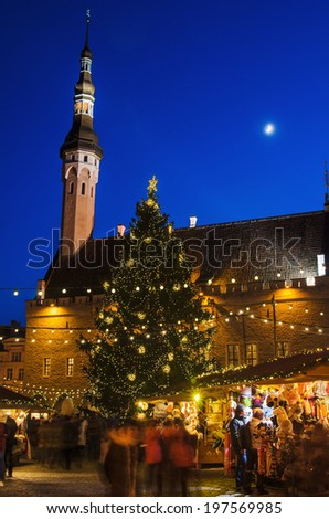 TALLINN, ESTONIA -JANUARY 05: People enjoy Christmas market in Tallinn on January 05, 2014 in Tallinn , Estonia. It is Estonia oldest Christmas Market with a very long history dating back to 1441. - stock photo