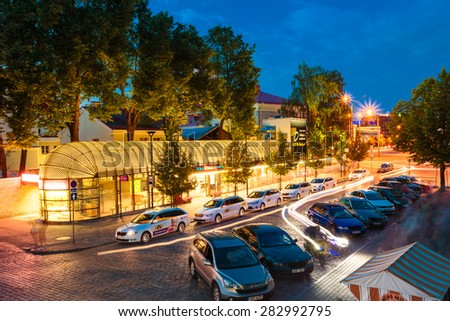 TALLINN, ESTONIA - JULY 26, 2014: Cars Taxi Stand In The Parking Lot At The Entrance To Old Part Town Estonian Capital
