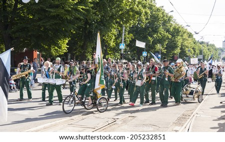 TALLINN, ESTONIA - JULY 05, 2014: Parade of the Estonian XXVI National song and dance festival called Aja Puudutus, Puudutuse Aeg in Tallinn, Estonia on July 05, 2014