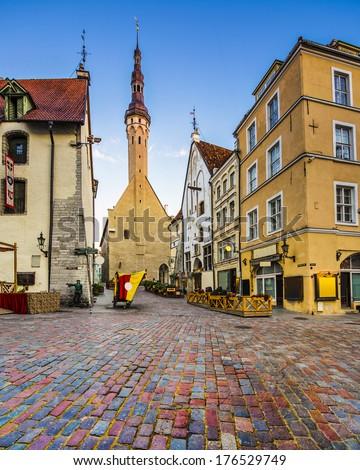 Tallinn, Estonia old city at old town hall. - stock photo