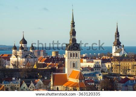 Tallinn, Estonia old city panorama - stock photo