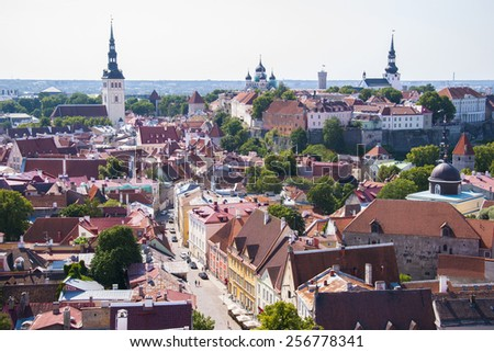 Tallinn, Estonia old city view, summer - stock photo
