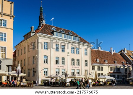 TALLINN, ESTONIA - SEP 8, 2014: Architecture on the City Hall square in the Historical Centre of Tallinn, Estonia. It's part of the UNESCO World Heritage site