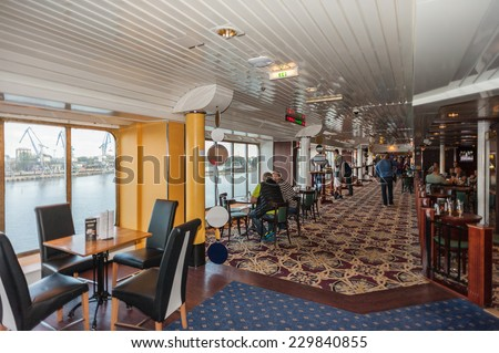TALLINN, ESTONIA - SEP 7, 2014: Passage at the Cruiseferry of the Estonian company Tallink. It is one of the largest passenger and cargo shipping companies in the Baltic Sea region - stock photo