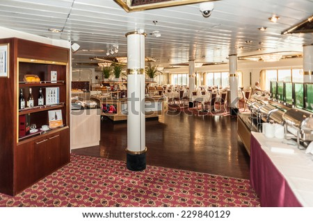TALLINN, ESTONIA - SEP 7, 2014: Restaurant at the Cruiseferry of the Estonian company Tallink. It is one of the largest passenger and cargo shipping companies in the Baltic Sea region - stock photo