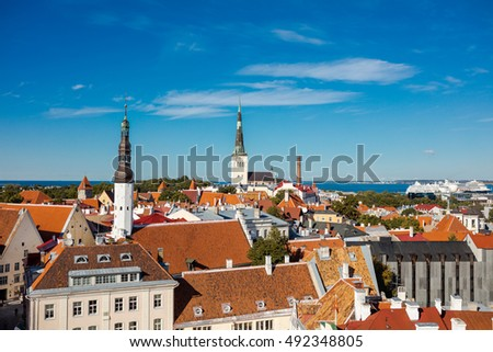 TALLINN, ESTONIA - 08 September 2016: Aerial view of old town from Town Hall tower in Tallinn