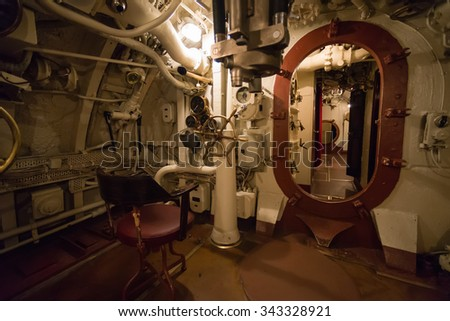 TALLINN/ESTONIA - SEPTEMBER 20, 2014; The Estonian maritime museum in Seaplane harbour. Inside the Submarine.