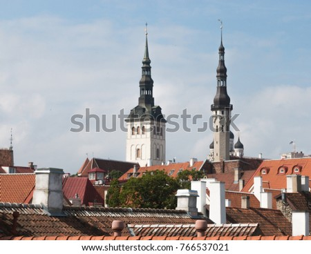Tallinn, Estonia; 24th July 2016; View Across Rooftops. Two Tall Church  Spires