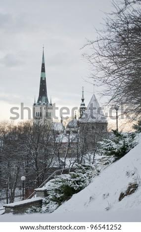 Tallinn, Estonia. View of the Old Town  in winter. - stock photo