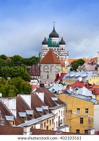 Tallinn. Old city. Red roofs of houses and Alexander Nevsky Cathedral - stock photo