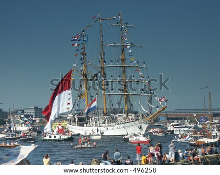 Tallship Indonesia - stock photo