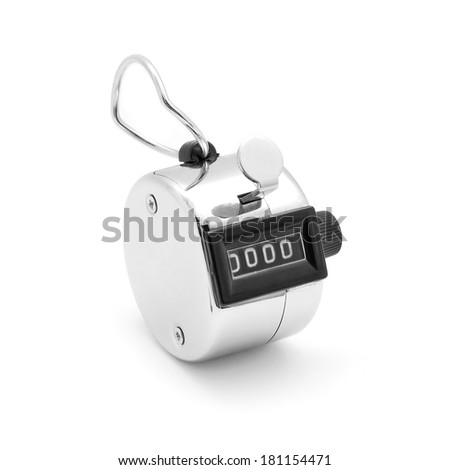tally click counter on white - stock photo
