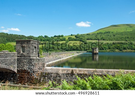 Talybont Reservoir and mountain scenery in the summertime.