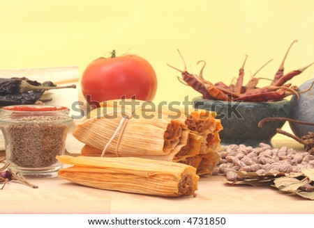 Tamales With Beans and Spices on Yellow Background