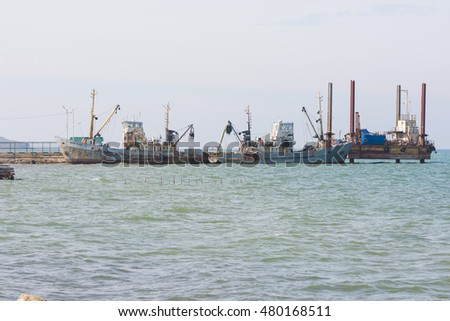 Taman, Russia - March 8, 2016: two fishing trawlers are berthed