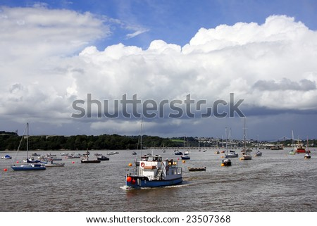 tamar river with boats, Plymouth, UK - stock photo