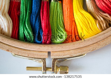 tambour with threads for embroidery - stock photo