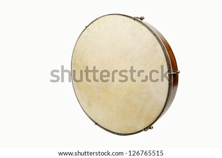 Tambourine isolated against a white background