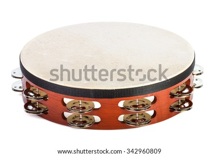 Tambourine isolated on a white background - stock photo