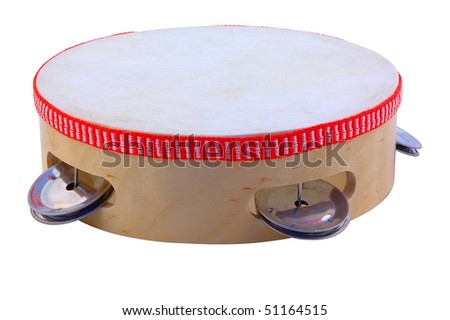 Tambourine isolated on pure white - stock photo