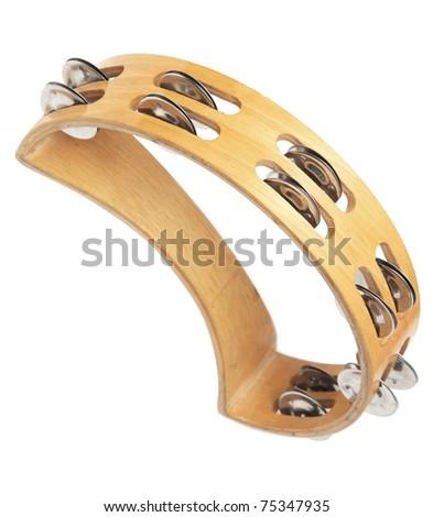 tambourine isolated on white background - stock photo