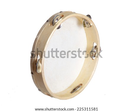 Tambourine isolated on white background in half a turn - stock photo