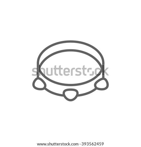 Tambourine line icon. - stock photo