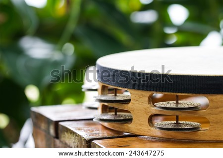 tambourine on wood table in garden - stock photo