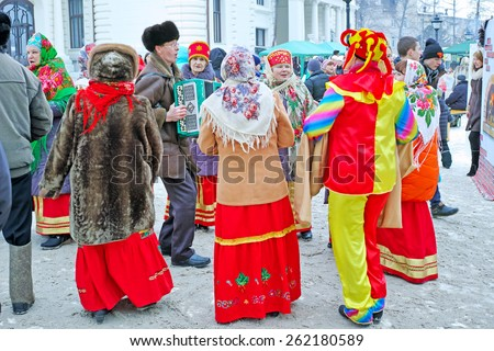 Tambov, Russia - February 20, 2015: Maslenitsa (pancake week, shrovetide) - carnival of farewell winter and meeting spring in Tambov.   Performances by folk groups in national costumes.