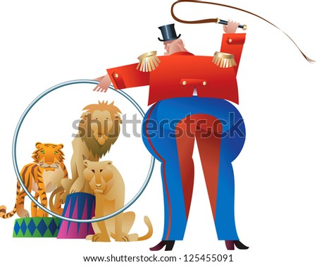 Tamer is making wild beasts jump through his ring. Raster image. Find a vector version in my portfolio. - stock photo