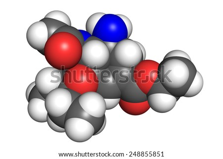 Tamiflu is an oral antiviral medication used to treat and prevent influenza (flu). Space filling model, conventional coloring scheme. - stock photo