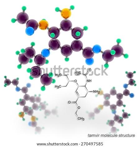 Tamiflu molecule structure. Three dimensional model render - stock photo