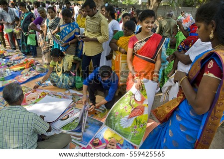 TAMIL NADU, INDIA - January 16, 2017: Local fair on Pongal holiday