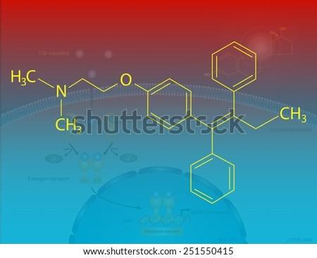 Tamoxifen molecular structure - stock photo
