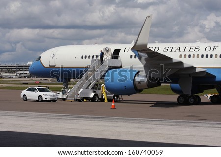 TAMPA, FL, USA - OCTOBER 19: Vice-President Joe Biden flew into Tampa International Airport (TPA), FL aboard Air Force 2 on October 19, 2012. - stock photo
