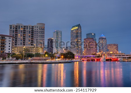 TAMPA, FLORIDA - JANUARY 15, 2015 : The skyline of downtown Tampa at Night, hdr processing