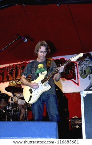 TAMPA, FLORIDA - MARCH 12, 2011: Tim Reynolds, lead guitarist for the Dave Mathews band, appears at Skippers Smokehouse in Tampa, Florida on March 12, 2011.