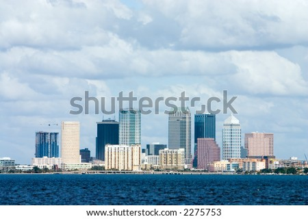 Tampa Florida skyline viewed from bay - stock photo