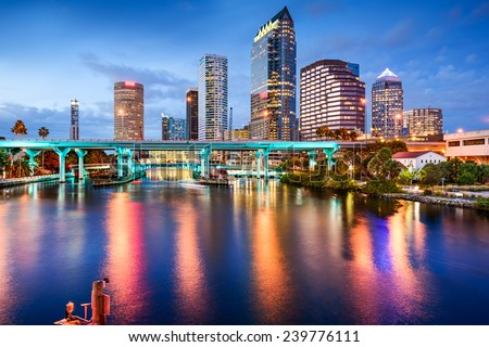 Tampa, Florida, USA downtown city skyline over the Hillsborough River. - stock photo