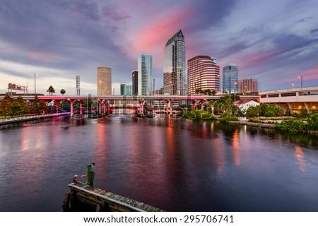 Tampa, Florida, USA downtown city skyline over the Hillsborough River. - stock photo
