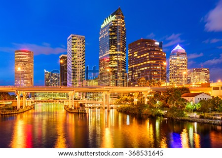 Tampa, Florida, USA downtown skyline on the Hillsborough River. - stock photo