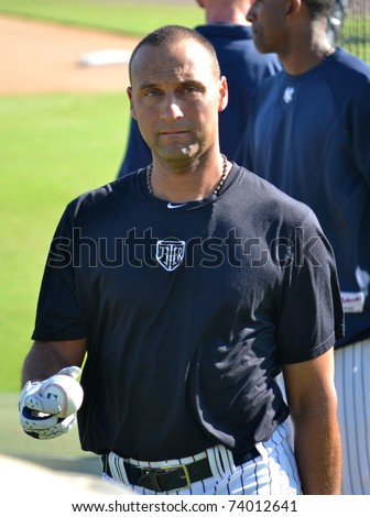 TAMPA - MARCH 25: Derek Jeter at New York Yankees spring training practice on March 25, 2011 in Tampa, FL. - stock photo