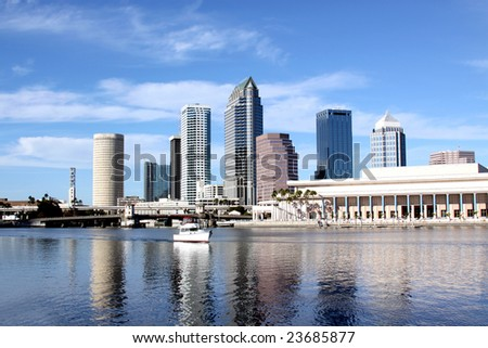 Tampa Skyline - Panoramic view on modern skyscrapers - stock photo