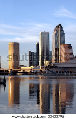 Tampa Skyline, Water front view, modern skyscrapers in business downtown reflecting in the Hillsborough river