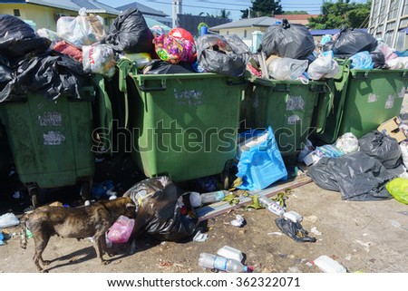 Tamparuli Sabah Malaysia - Jan 10, 2016:Dumpsters full with unsegregated domestic waste pictured on Jan 10, 2016 at Tamparuli Sabah. - stock photo