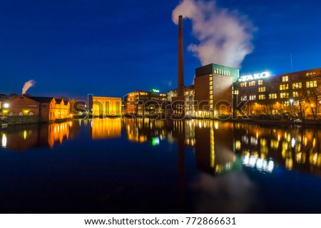 Tampere, Finland - April 2, 2016: Industrial buildings in Tampere by night (Finland)