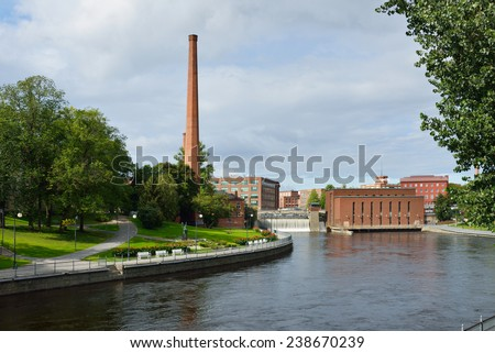 TAMPERE,FINLAND - AUG 28,2014:Tampere used to be an industrial city, Finlayson, Tampella, still reminds us of those days. Buildings of Tampella have been refurbished. - stock photo