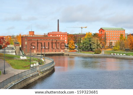 Tampere, Finland. Beautiful river  Tammerkoski quay in autumn