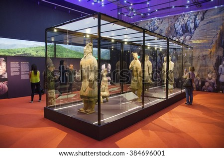 TAMPERE, FINLAND - JUNE 24: Terracotta army exhibition on June 24, 2016 in Vappriikki museum centre, Tampere, Finland. The terracotta army is a UNESCO world heritage site. - stock photo