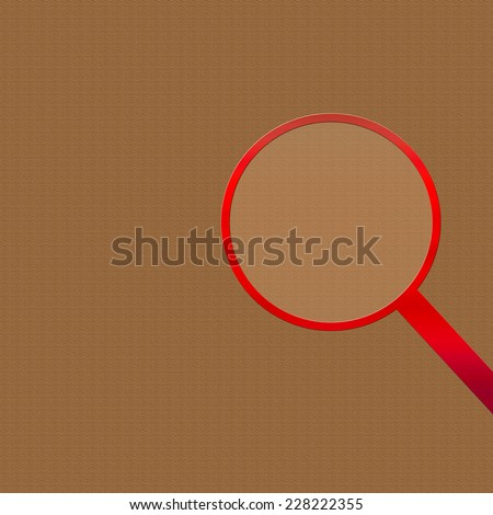 Tan background with red magnifying glass on the right side of illustration. - stock photo